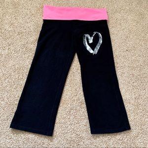 Victoria's Secret PINK Black & Pink Yoga Capris